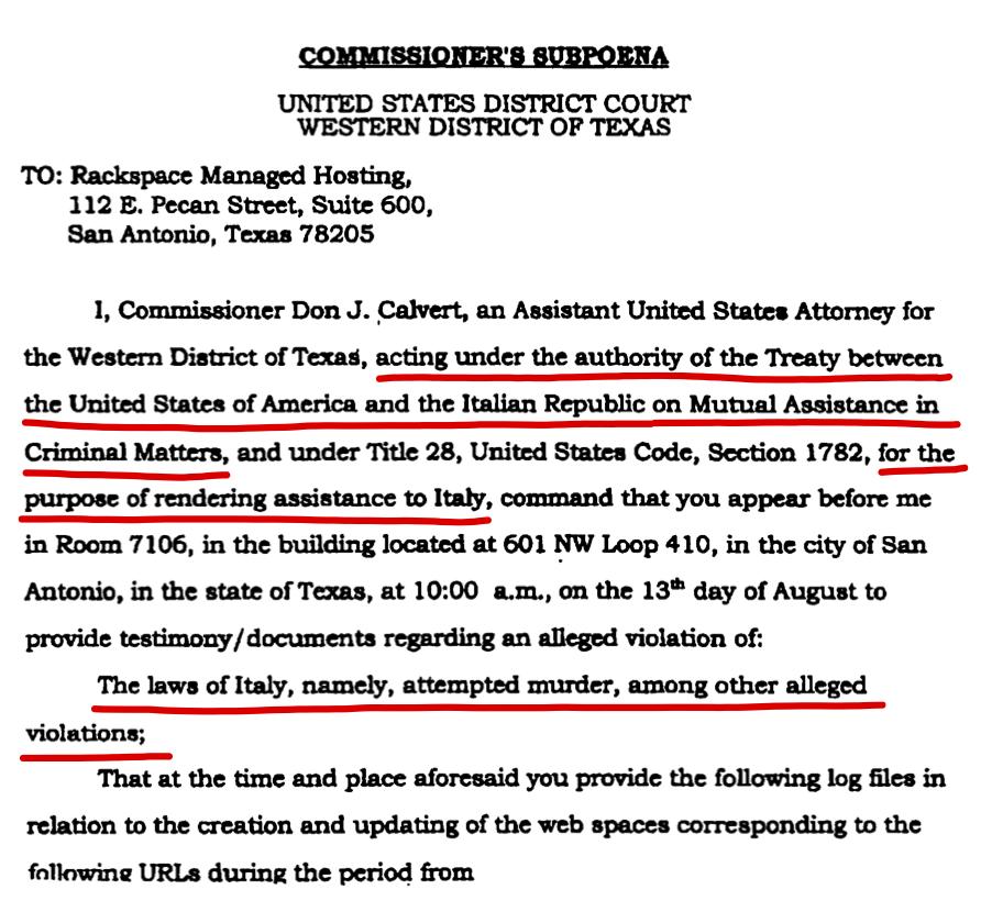Mandato per il sequestro dei server di Indymedia (2004)