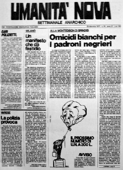 umanità nova n.45 del 1977